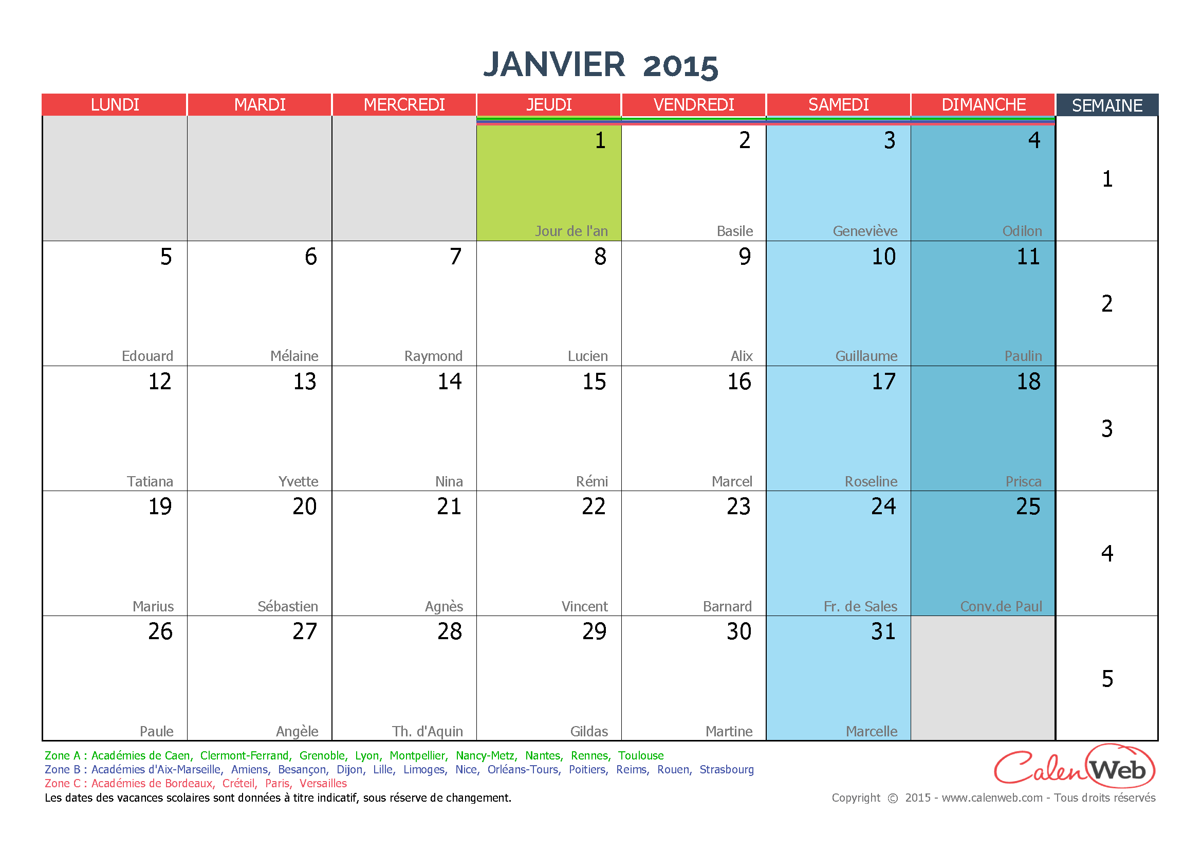 calendrier mensuel mois de janvier 2015 avec f tes. Black Bedroom Furniture Sets. Home Design Ideas