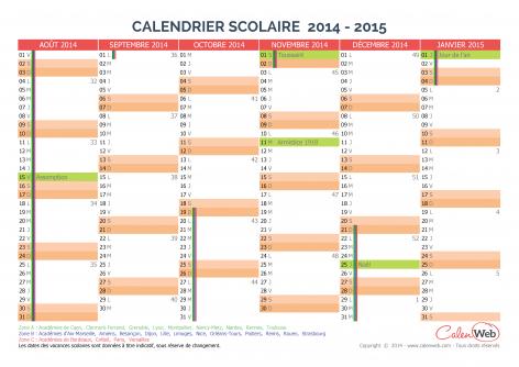 calendrier scolaire semestriel 2014 2015 avec affichage des jours f ri s et vacances scolaires. Black Bedroom Furniture Sets. Home Design Ideas