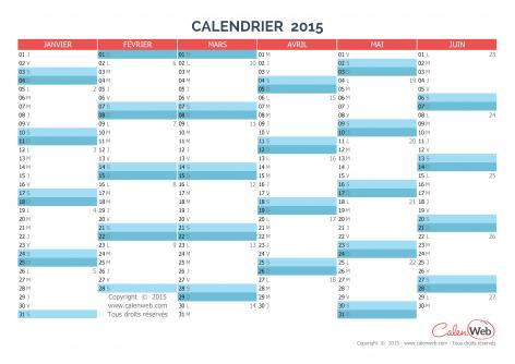 Calendrier semestriel – Année 2015 Planning semestriel vierge