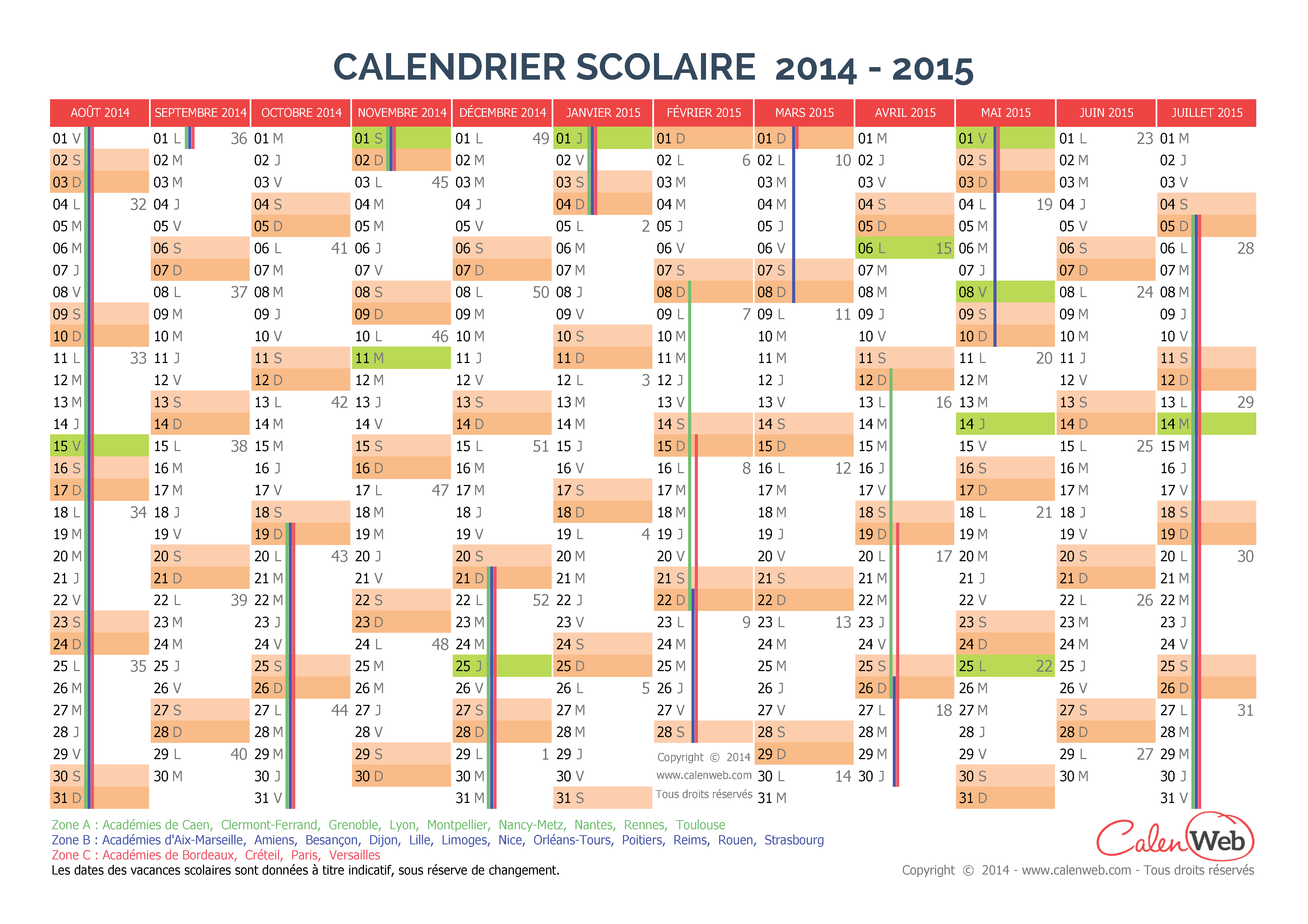 calendrier scolaire annuel 2014 2015 avec affichage des. Black Bedroom Furniture Sets. Home Design Ideas