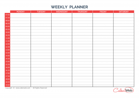 Weekly planner 6 days A week of 6 days