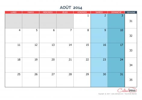 Calendrier mensuel – Mois d'août 2014 Version vierge
