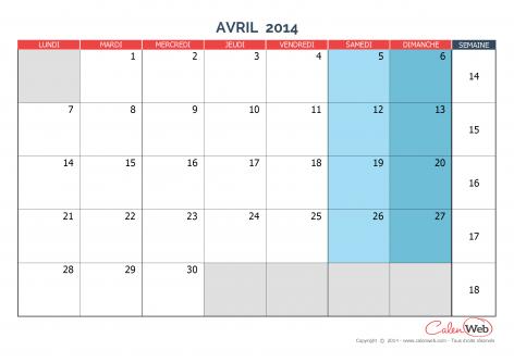 Calendrier mensuel – Mois d'avril 2014 Version vierge