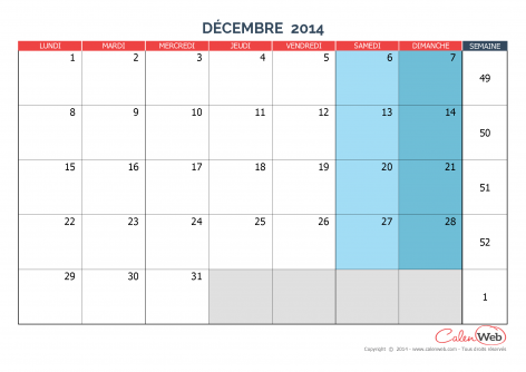 Calendrier mensuel – Mois de décembre 2014 Version vierge