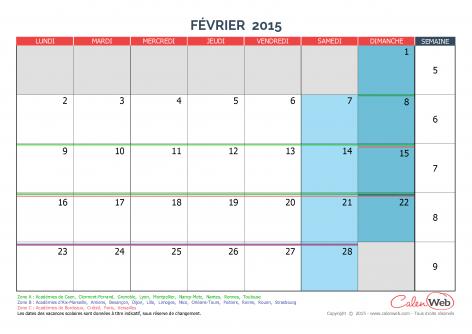 calendrier mensuel mois de f vrier 2015 avec jours f ri s et vacances scolaires. Black Bedroom Furniture Sets. Home Design Ideas