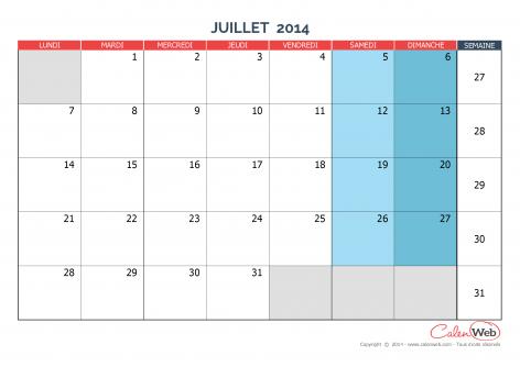 Calendrier mensuel – Mois de juillet 2014 Version vierge
