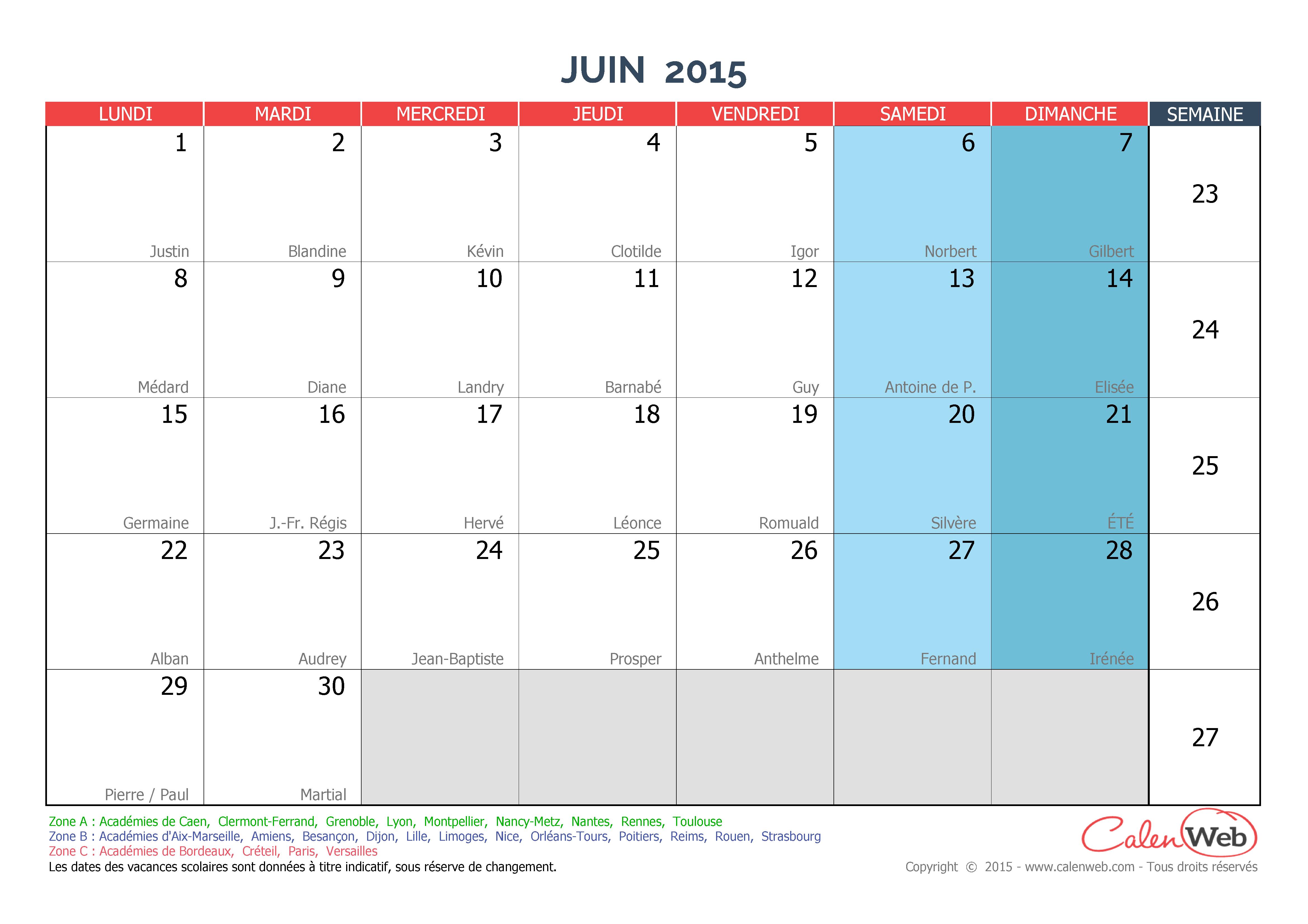 calendrier mensuel mois de juin 2015 avec f tes jours f ri s et vacances scolaires. Black Bedroom Furniture Sets. Home Design Ideas