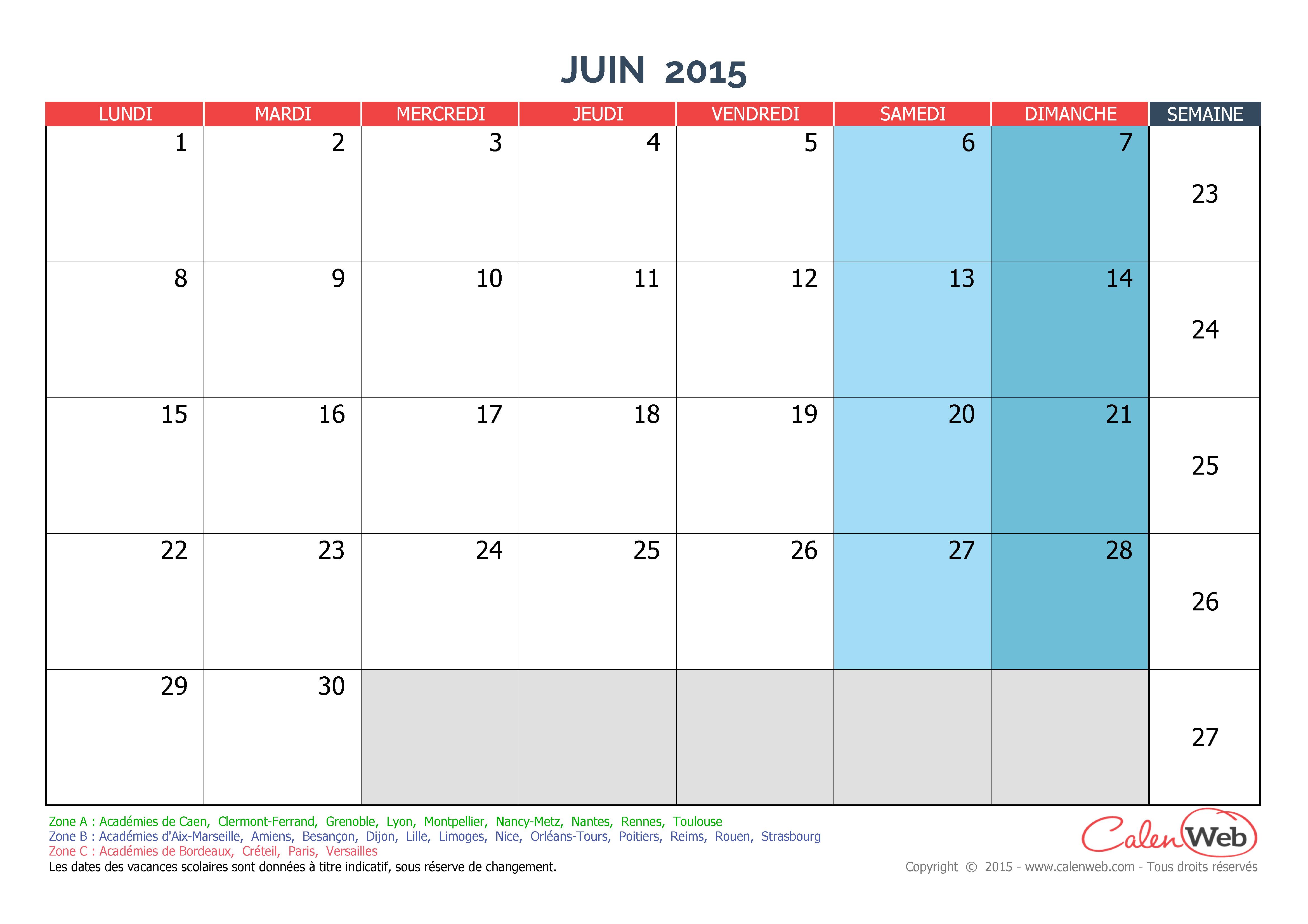 calendrier mensuel mois de juin 2015 avec jours f ri s et vacances scolaires. Black Bedroom Furniture Sets. Home Design Ideas