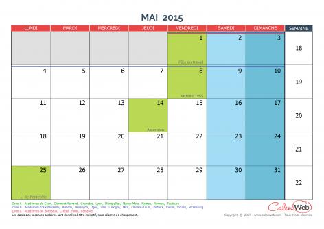 calendrier mensuel mois de mai 2015 avec jours f ri s et vacances scolaires. Black Bedroom Furniture Sets. Home Design Ideas