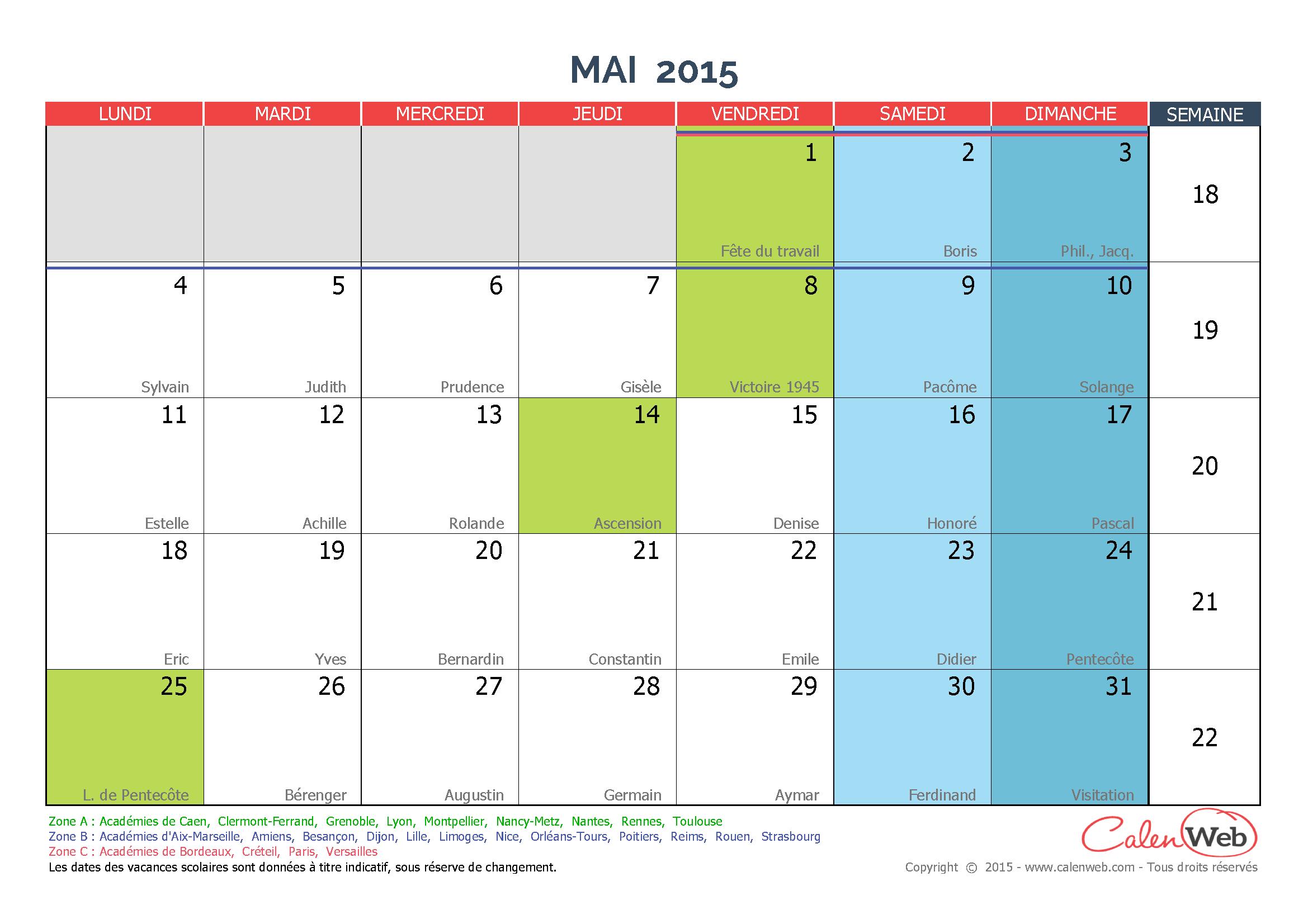 calendrier mensuel mois de mai 2015 avec f tes jours f ri s et vacances scolaires. Black Bedroom Furniture Sets. Home Design Ideas