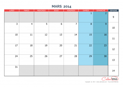 Calendrier mensuel – Mois de mars 2014 Version vierge