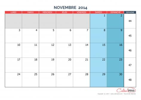 Calendrier mensuel – Mois de novembre 2014 Version vierge