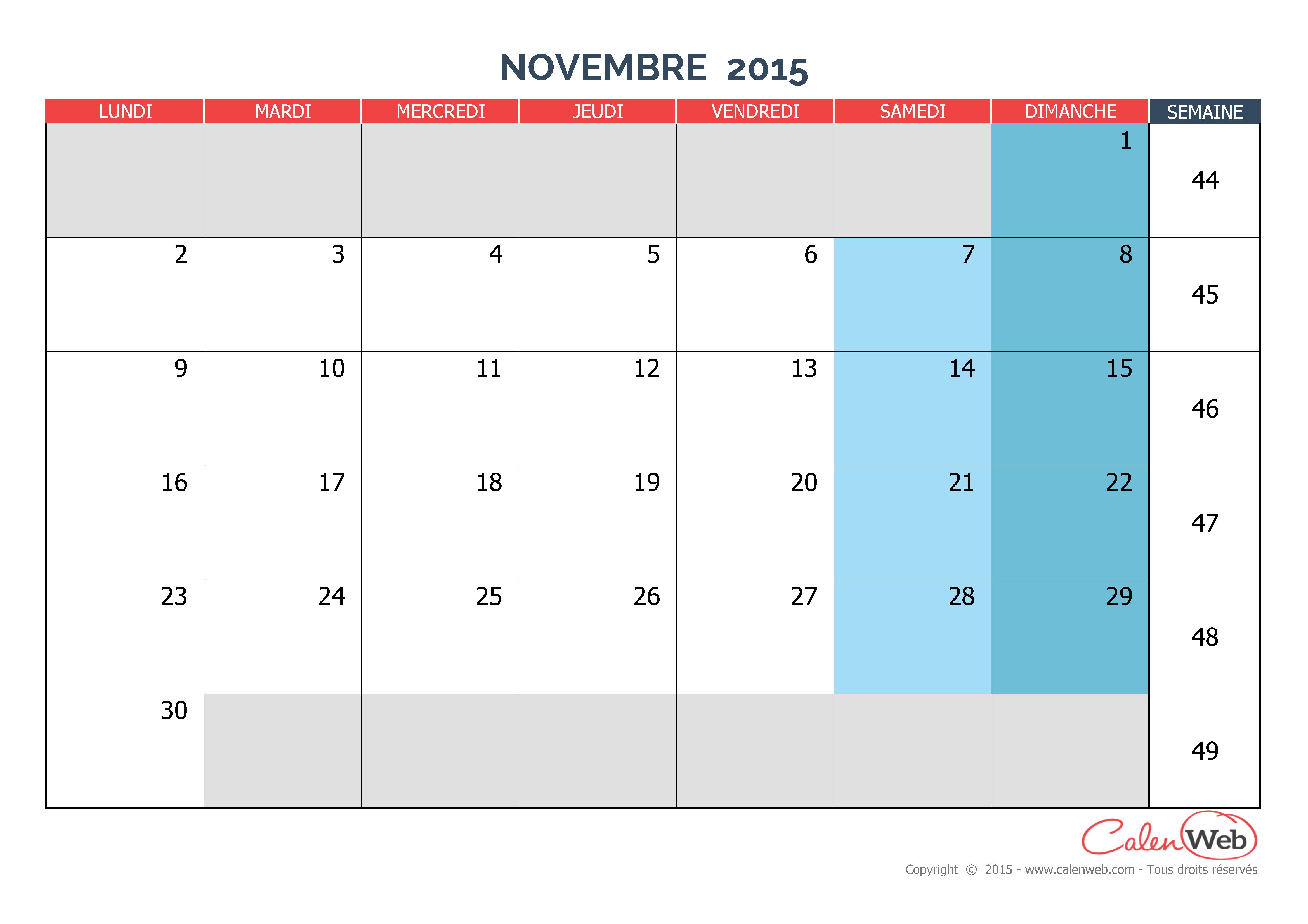 Calendrier mensuel - Mois de novembre 2015 Version vierge - Calenweb ...