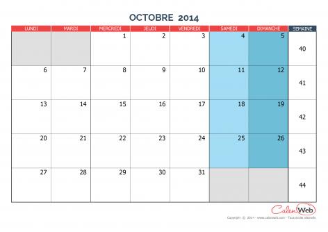 Calendrier mensuel – Mois d'octobre 2014 Version vierge
