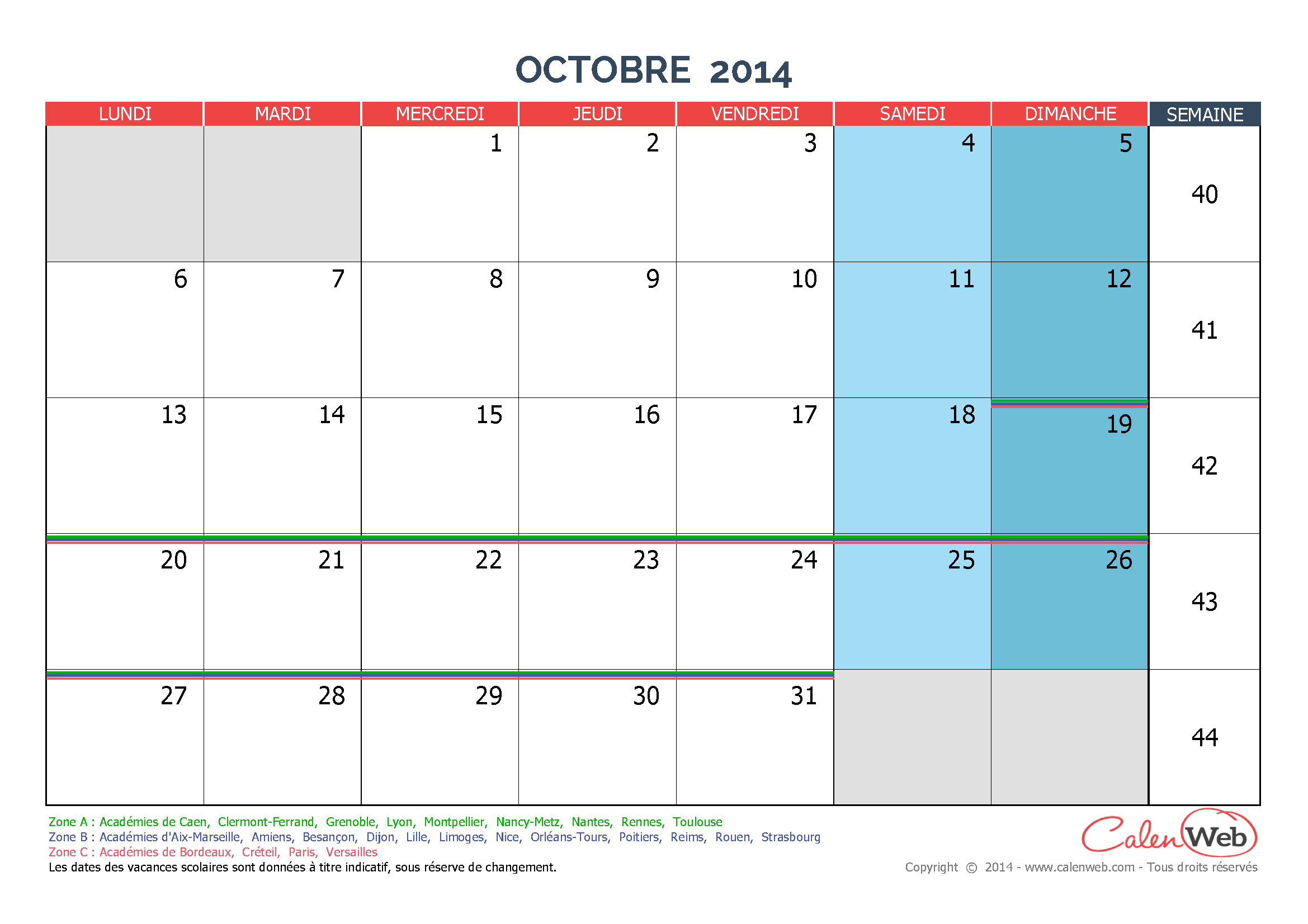 Calendrier Mensuel Mois D 39 Octobre 2014 Avec Jours F Ri S