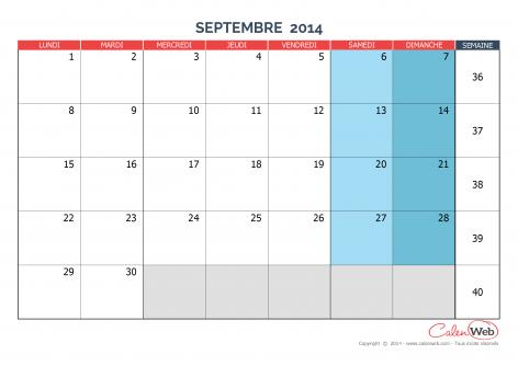 Calendrier mensuel – Mois de septembre 2014 Version vierge
