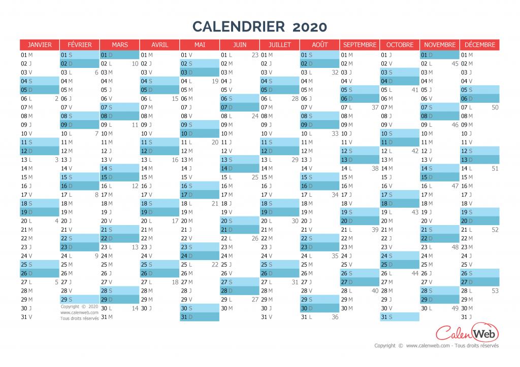 calendrier annuel - ann u00e9e 2020 version vierge