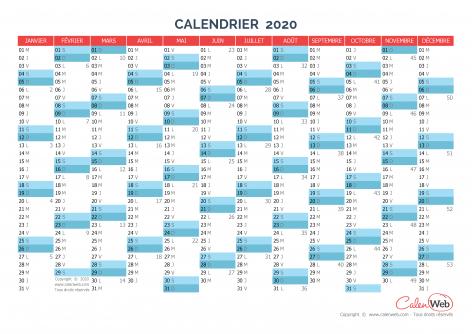 Calendrier annuel – Année 2020 Version vierge