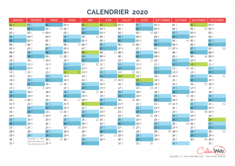 Calendrier annuel – Année 2020 avec jours fériés
