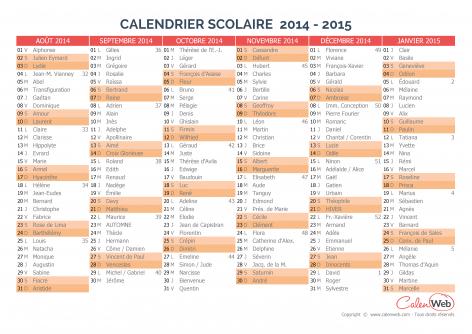 Calendrier scolaire semestriel 2014 2015 avec affichage des f tes du jour - Calendrier scolaire 2014 2015 ...