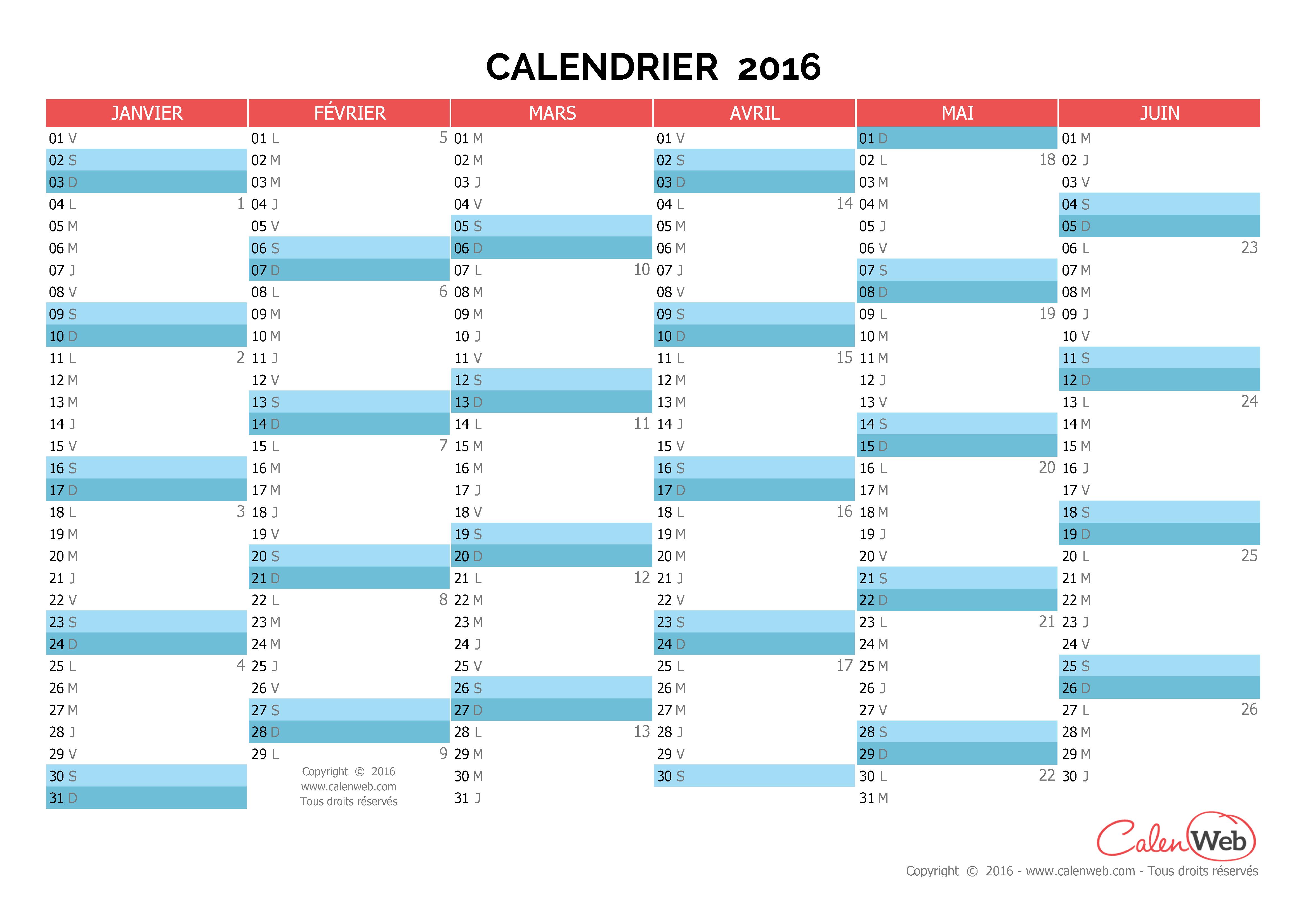 Calendrier Semestriel 2016 Excel | New Calendar Template Site
