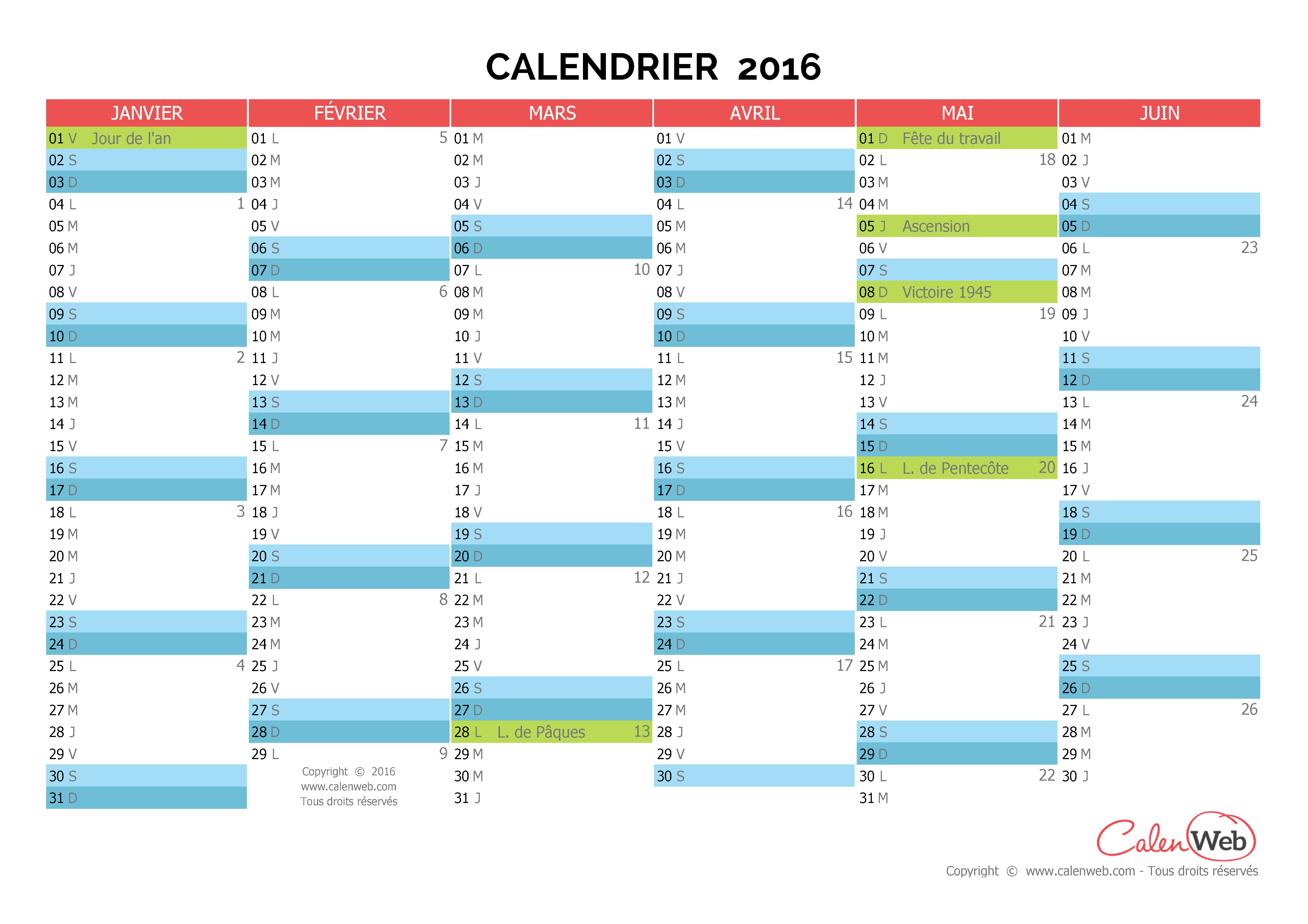 calendrier semestriel ann e 2016 avec affichage des. Black Bedroom Furniture Sets. Home Design Ideas