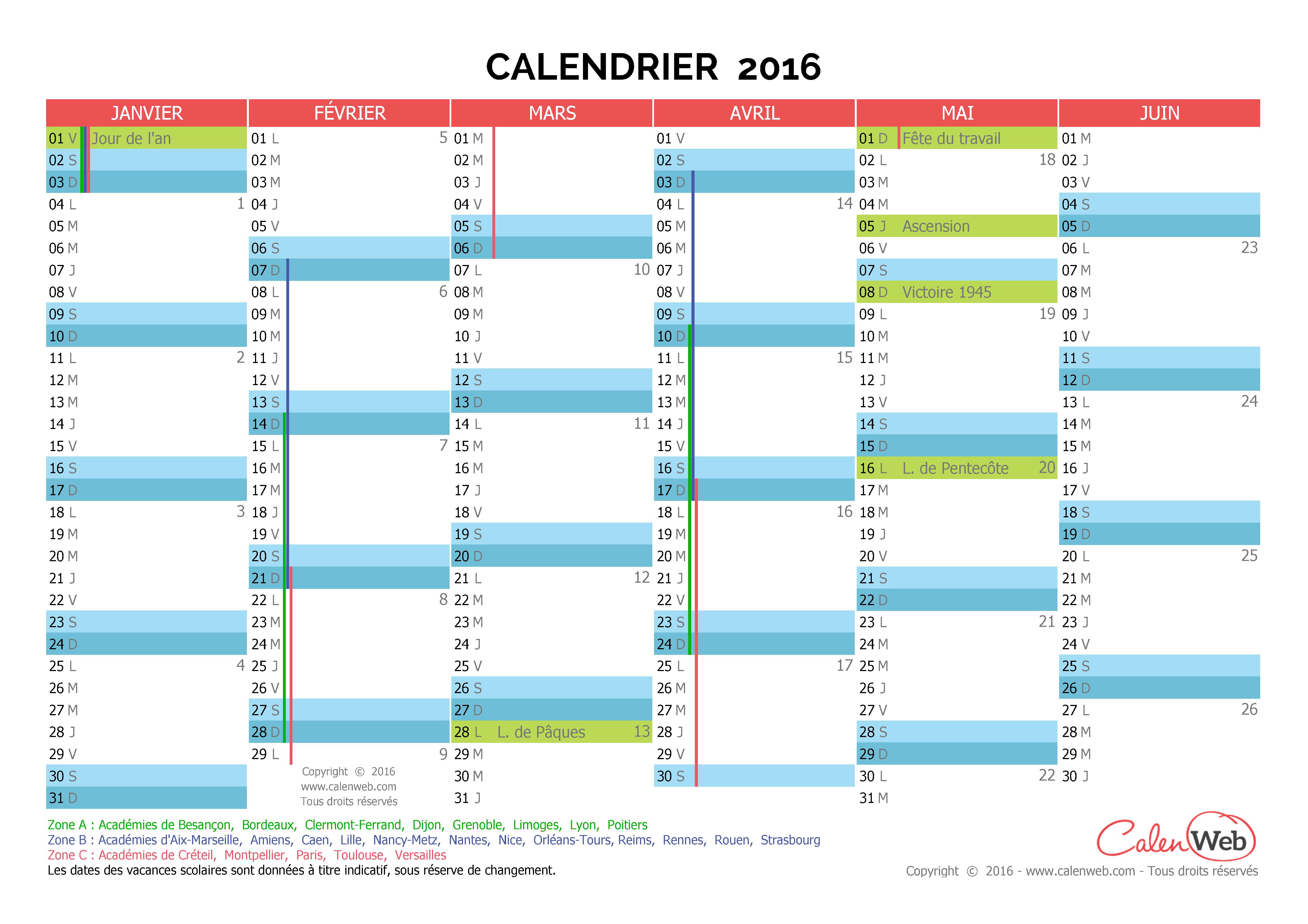 calendrier semestriel ann e 2016 avec jours f ri s et vacances scolaires. Black Bedroom Furniture Sets. Home Design Ideas