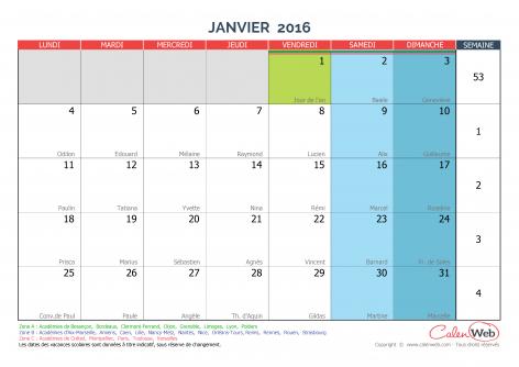 calendrier mensuel mois de janvier 2016 avec f tes jours f ri s et vacances scolaires. Black Bedroom Furniture Sets. Home Design Ideas