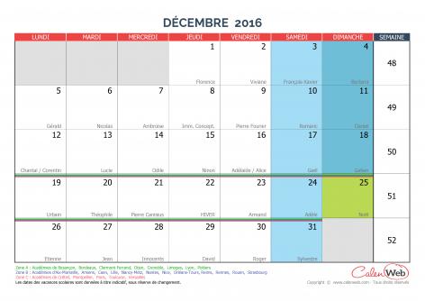 Décembre 2016 - Calenweb.com