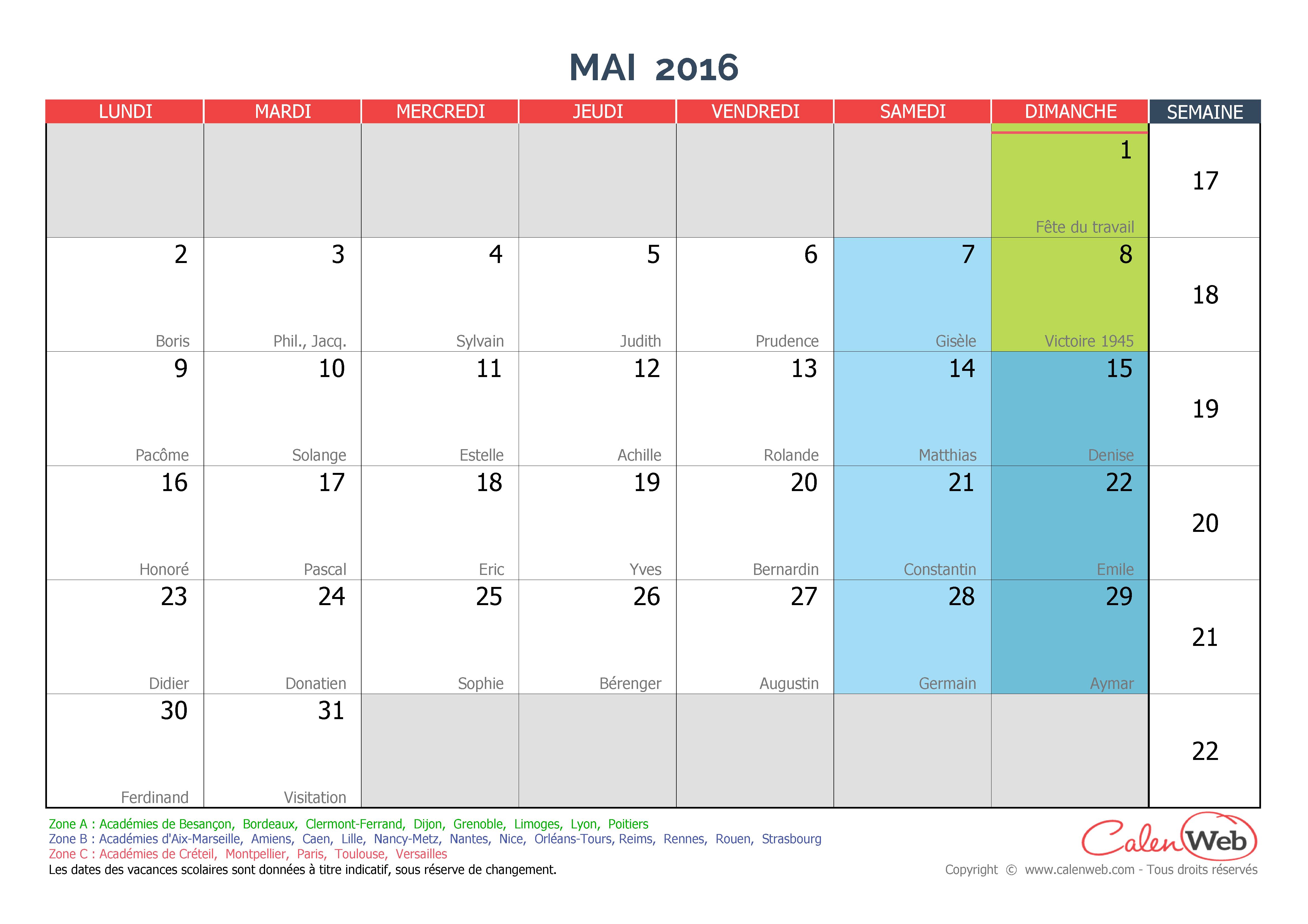 calendrier mensuel mois de mai 2016 avec f tes jours f ri s et vacances scolaires. Black Bedroom Furniture Sets. Home Design Ideas