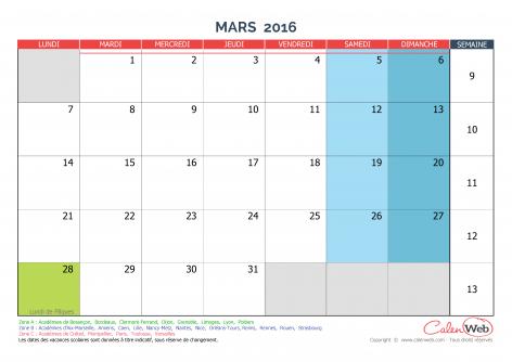 ... de mars 2016 Avec jours fériés et vacances scolaires - Calenweb.com