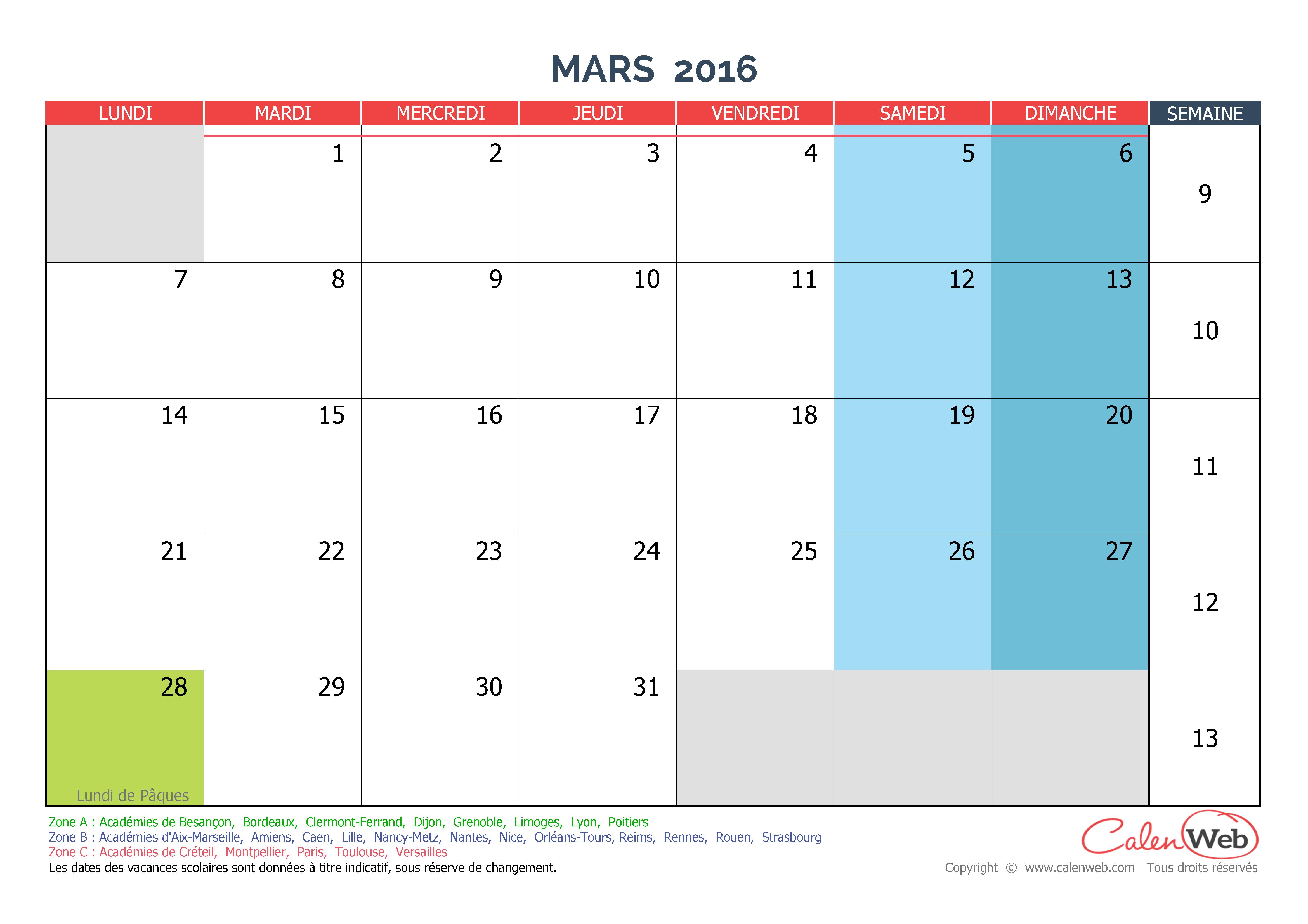 Calendrier mensuel mois de mars 2016 avec jours f ri s for Calendrier jardin mars 2016