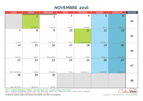 calendrier mensuel mois de novembre 2016 avec f tes jours f ri s et vacances scolaires. Black Bedroom Furniture Sets. Home Design Ideas