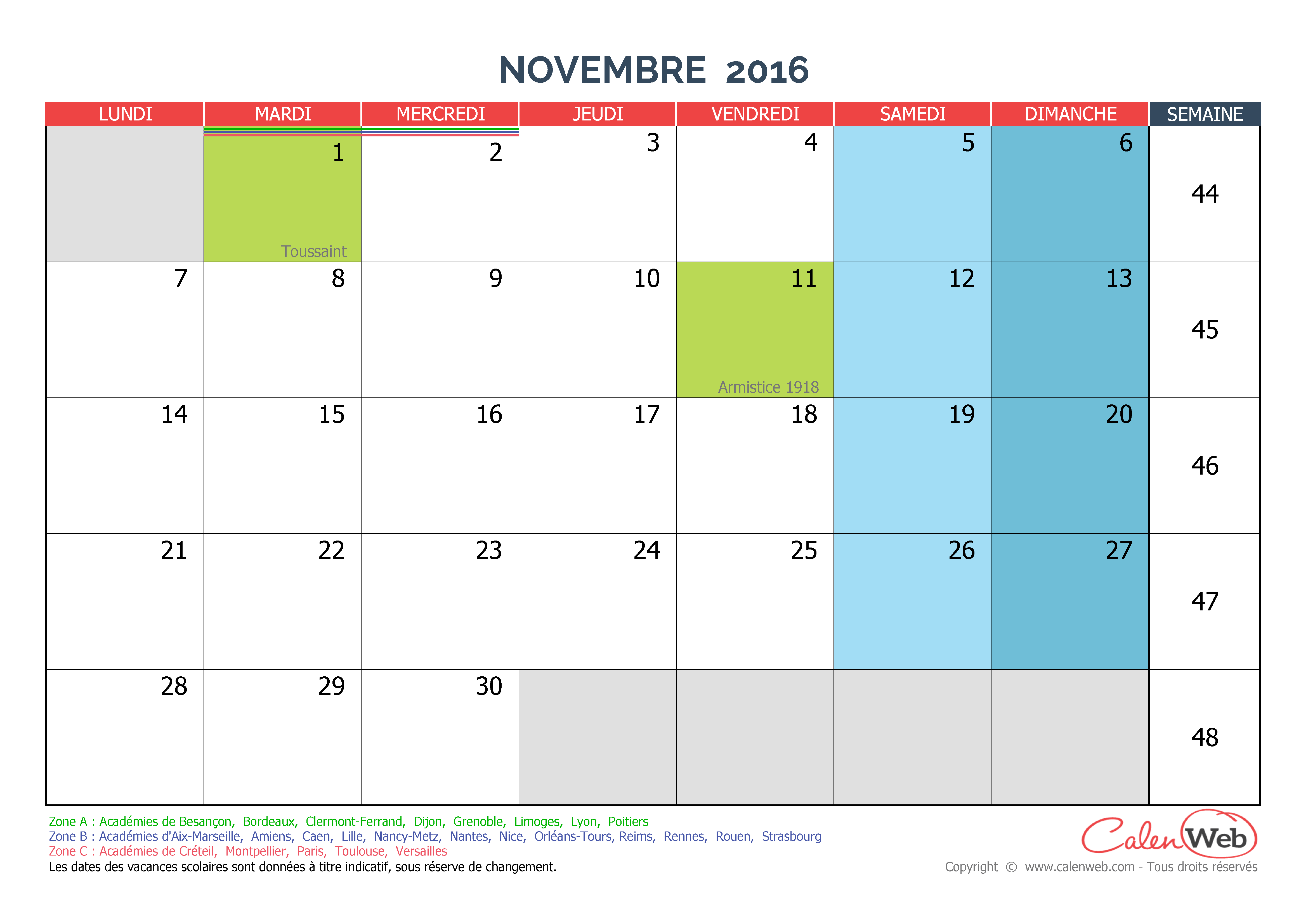 calendrier mensuel mois de novembre 2016 avec jours f ri s et vacances scolaires. Black Bedroom Furniture Sets. Home Design Ideas