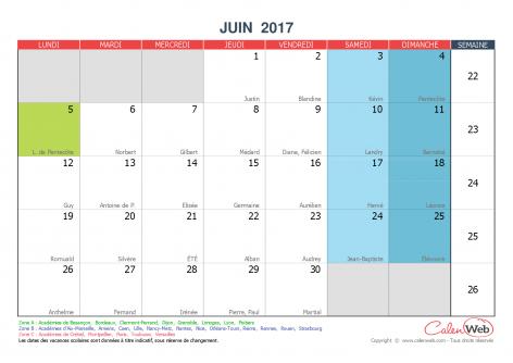 Calendrier Mensuel Mois De Juin 2017 Avec Fetes Jours Feries Et