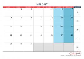 Calendrier mensuel – Mois de mai 2017