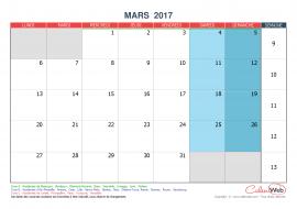Calendrier mensuel – Mois de mars 2017