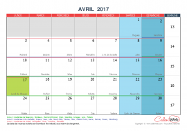 Calendrier mensuel – Mois d'avril 2017