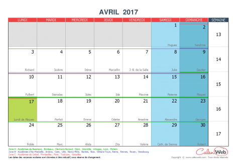 Calendrier mensuel mois d 39 avril 2017 avec f tes jours f ri s et vacances scolaires - Calendrier lunaire rustica avril 2017 ...