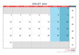 Calendrier mensuel – Mois de juillet 2017