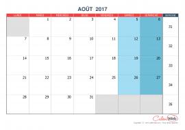 Calendrier mensuel – Mois d'août 2017