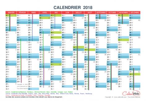 Calendrier annuel – Année 2018 avec jours fériés et vacances scolaires