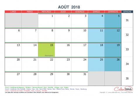 calendrier mensuel mois d 39 ao t 2018 avec jours f ri s et vacances scolaires. Black Bedroom Furniture Sets. Home Design Ideas