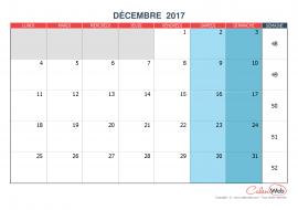 Calendrier mensuel – Mois de décembre 2017