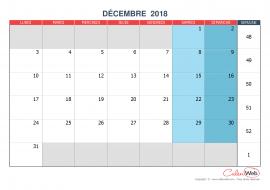 Calendrier mensuel – Mois de décembre 2018