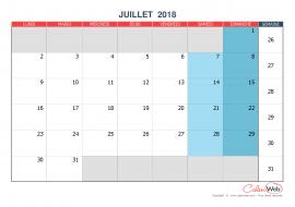 Calendrier mensuel – Mois de juillet 2018