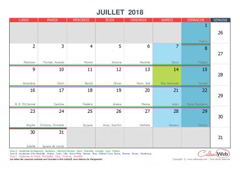 calendrier mensuel mois de juillet 2018 avec f tes jours f ri s et vacances scolaires. Black Bedroom Furniture Sets. Home Design Ideas