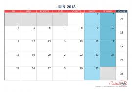 Calendrier mensuel – Mois de juin 2018