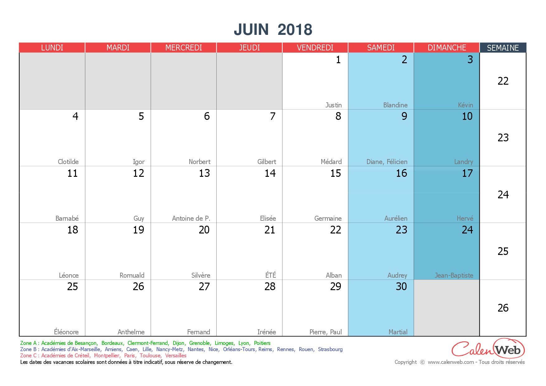 Calendrier mensuel mois de juin 2018 avec f tes jours f ri s et vacances scolaires - Calendrier du mois de juin 2017 ...