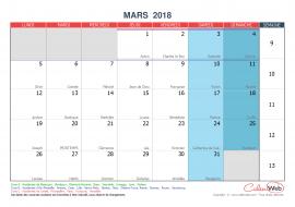 Calendrier mensuel – Mois de mars 2018